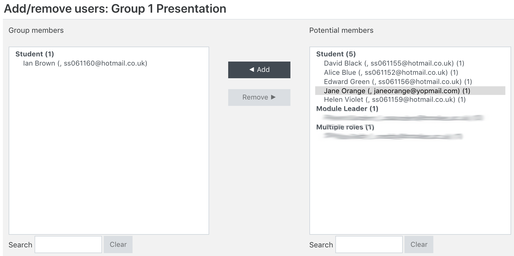 Screenshot of the add remove users page which shows existing group members as well as potential group members.