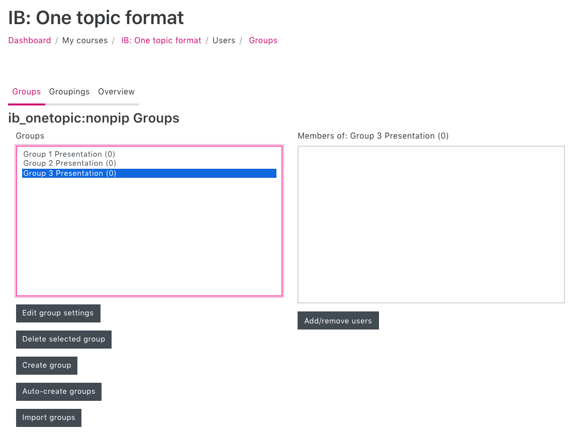 Screenshot of the Groups window showing the names of the groups that have been created.