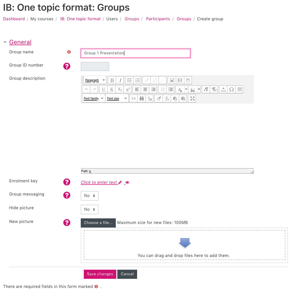Screenshot of the Groups window showing Group name and Group description boxes.