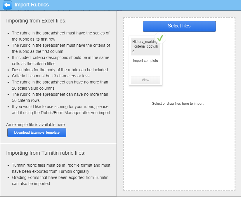 Screenshot of Import Rubrics dialogue box in Turnitin Rubric Manager