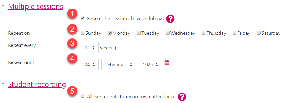 Screenshot displaying the session settings within the Attendance activity.