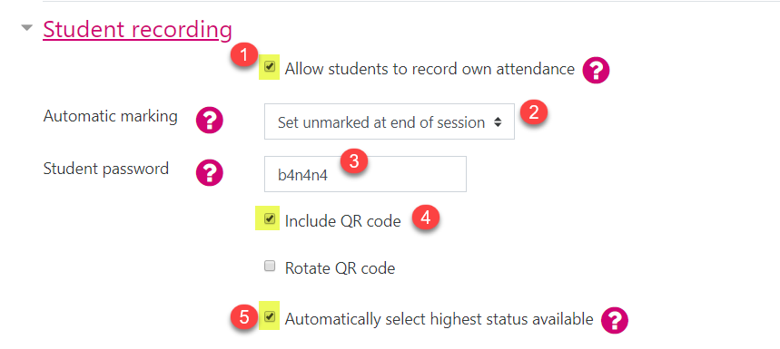 Screenshot showing the Student recording settings for a session within the Attendance activity.