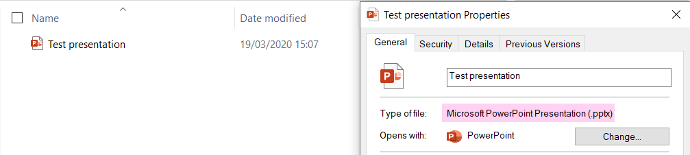 The Properties for a saved Powerpoint file. Type of file reads 'Microsoft PowerPoint Presentation (.pptx).