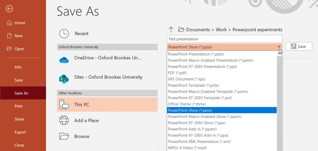 Screenshot showing the drop down menu allowing you to save a presentation as a Powerpoint Show (*ppsx).