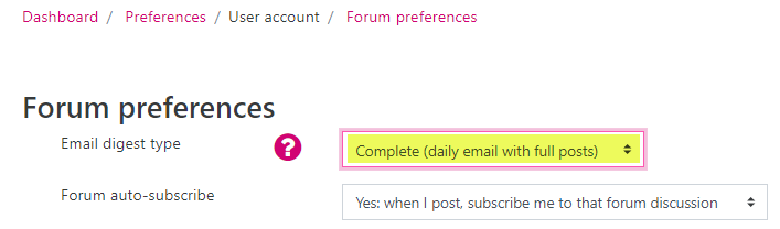 Screenshot of the Forum preferences page for a user account. The Email digest type is highlighted to indicate where you would change your preference.