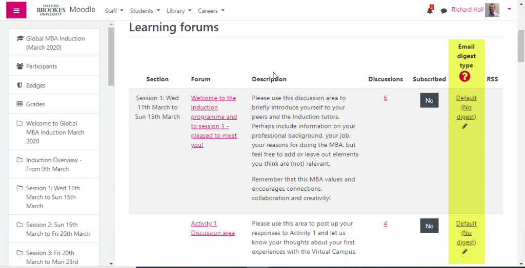 Screenshot of a page showing the subscription and digest settings for all forums in a course. The Email digest type column is highlighted.