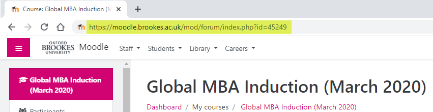 A screenshot of the URL bar showing the newly entered URL: https://moodle.brookes.ac.uk/mod/forum/index.php?id=4529.