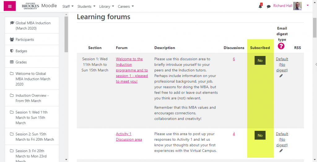 Screenshot of the forum subscription page of a course. It shows a list of the forums in the course and a status as to whether you are subscribed or unsubscribed. The Subscribed column is highlighted in yellow.