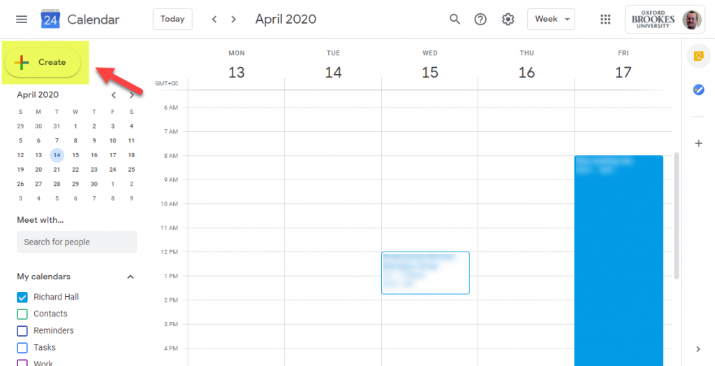 Screenshot of Google Calendar with the Create button highlighted.