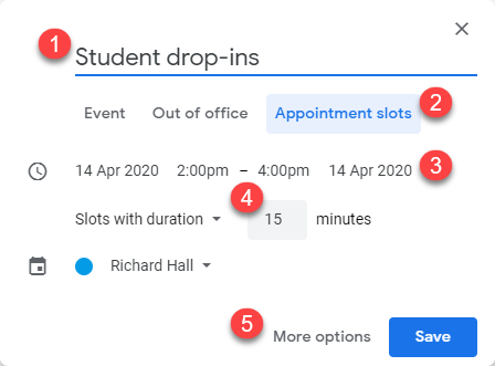 Screenshot of the initial configuration options when creating an event in Google Calendar.