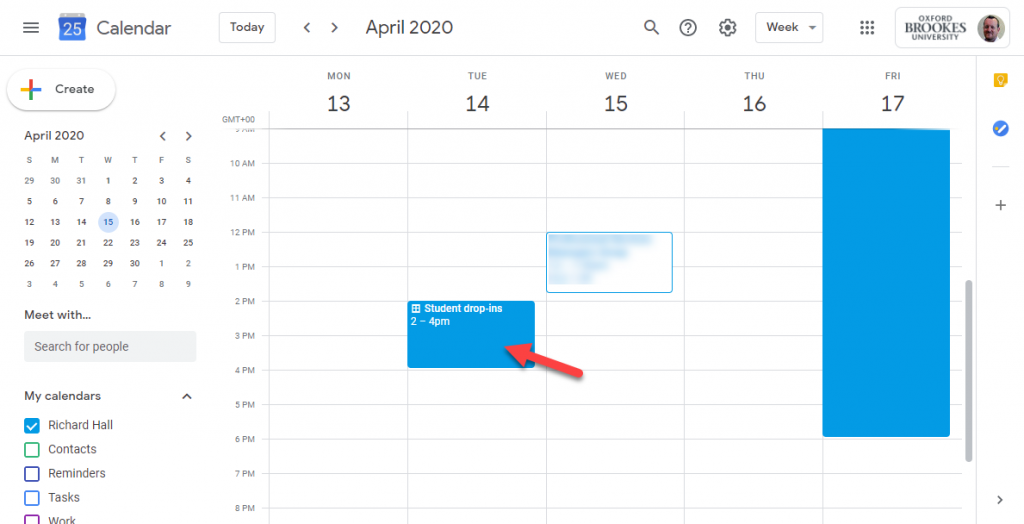 Screenshot showing the weekly page in Google Calendar and with an arrow pointing to an Appointment slot event.