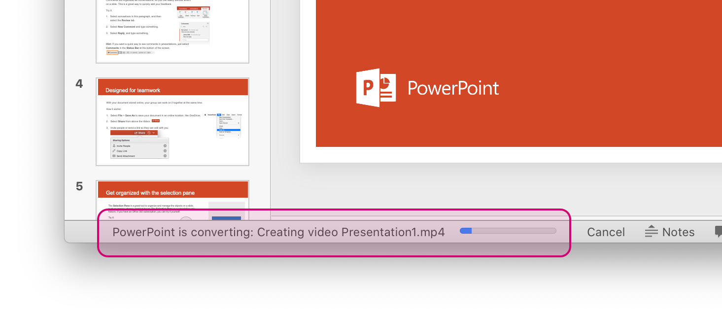 Screenshot of PowerPoint for Mac interface that shows the progress bar of the conversion at the bottom of the window highlighted in pink.