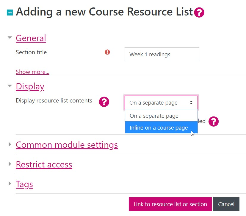 Moodle screenshot that show the drop down menu in the activity settings and text that reads 'inline on a course page'.