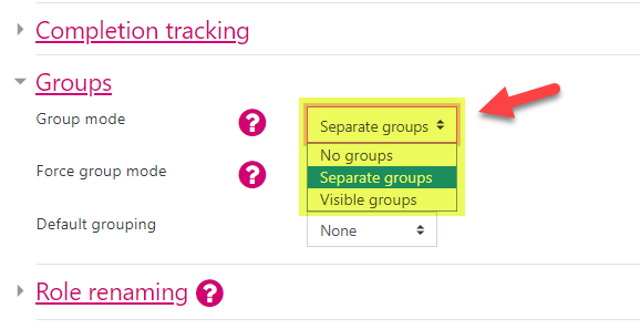 Screenshot showing the Groups section of the Course settings in a course. The Group mode is highlighted detailing that it can be set to 'No groups', 'Separate groups' or 'Visible groups'.