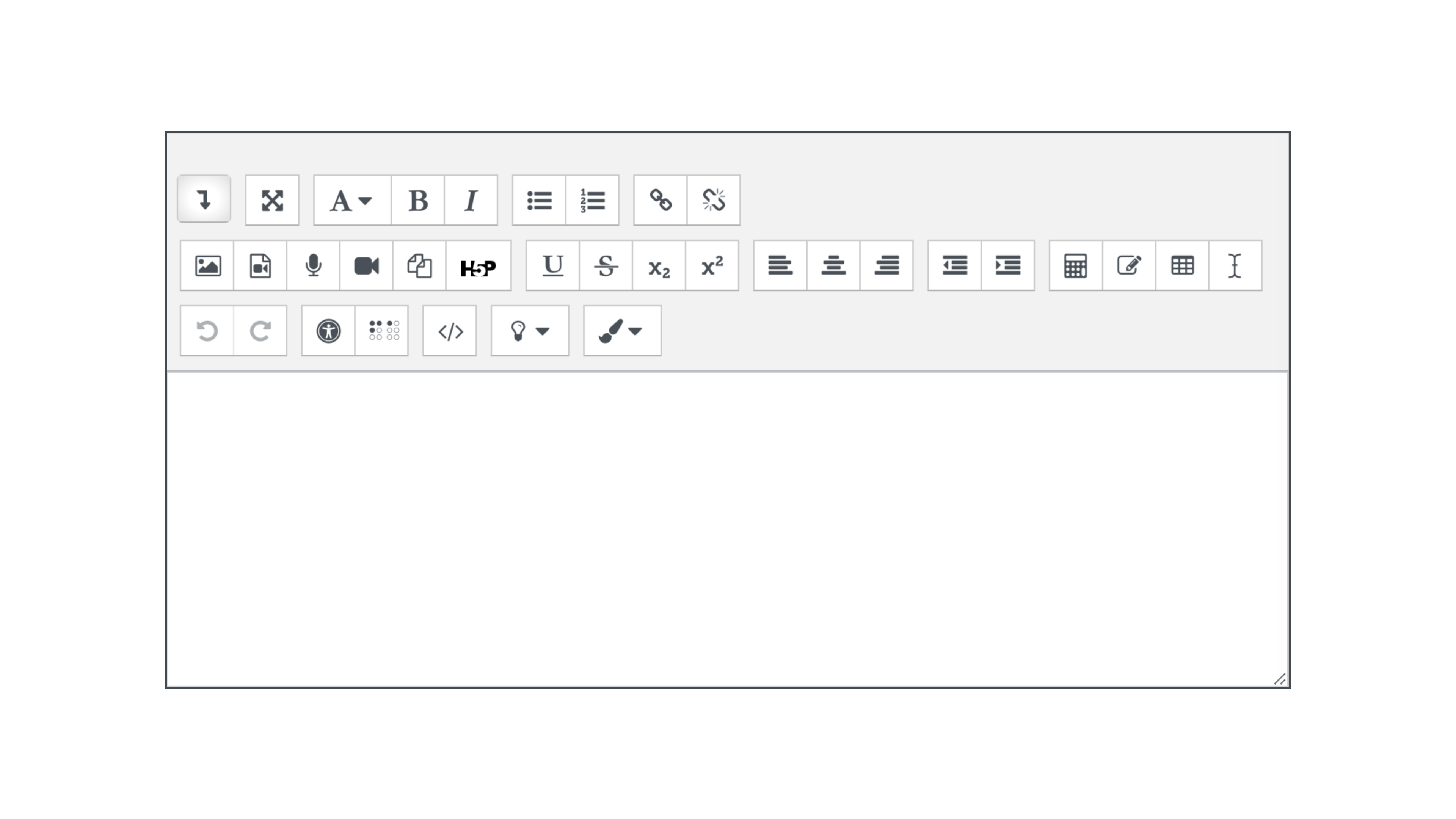 Screenshot of the expanded view of the Atto HTML editor in Moodle.