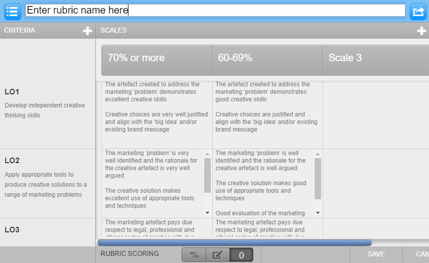 Screenshot of creating new rubric in edit mode in the rubric manager.