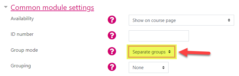 Screenshot showing the Forum Activity's Group mode set to 'Separate groups'.
