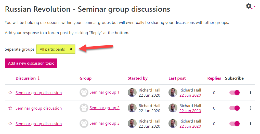 Screenshot of the resultant forum page, having added a discussion to all groups. The Separate groups field is highlighted and set to 'All participants' to show how a tutor might like to monitor discussions across all groups at once.