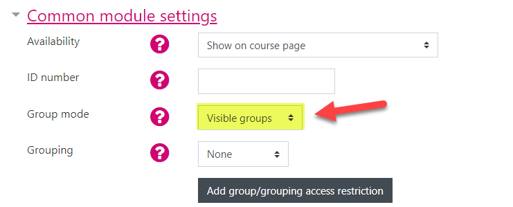Screenshot showing the Common module settings of a Forum activity. The Group mode is highlighted and showing 'Visible groups'.