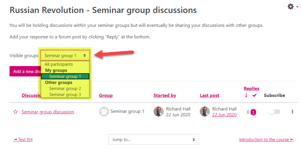 Screenshot of the student view of the main Forum page with the forum configured as Visible groups. The 'Visible groups' drop-down list shows all the groups listed, demonstrating that the student can now view the discussions for other groups too.