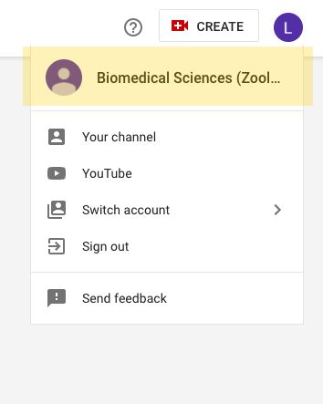 Screenshot from studio.youtube.com that shows the dropdown menu in the top-right hand corner.