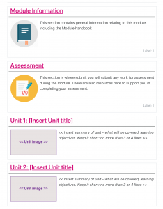 Moodle screenshot of an example of a course that uses the recommended Topics formats, where sections appear in boxes and the section titles are links in pink colour.