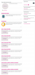 Full Moodle screenshot of an example of a course that uses the recommended Topics formats, where sections appear in boxes and the section titles are links in pink colour.