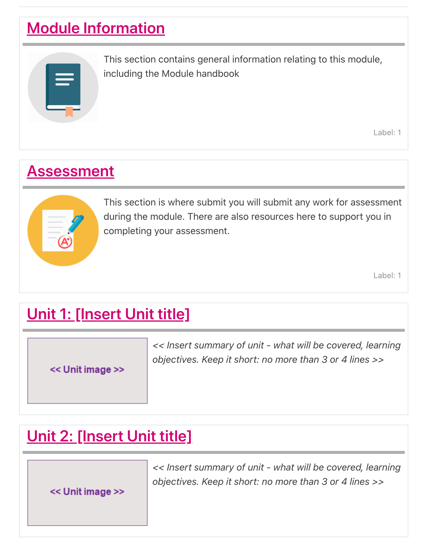 Moodle screenshot of an example of a course that uses the recommended Topics format, where sections appear in boxes and the section titles are links in pink colour.