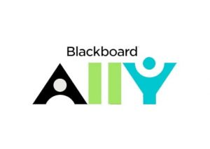 "Logo in white background that reads ""Blackboard"" in black text at the top and ""Ally"" at the top with black, green and cyan letters."