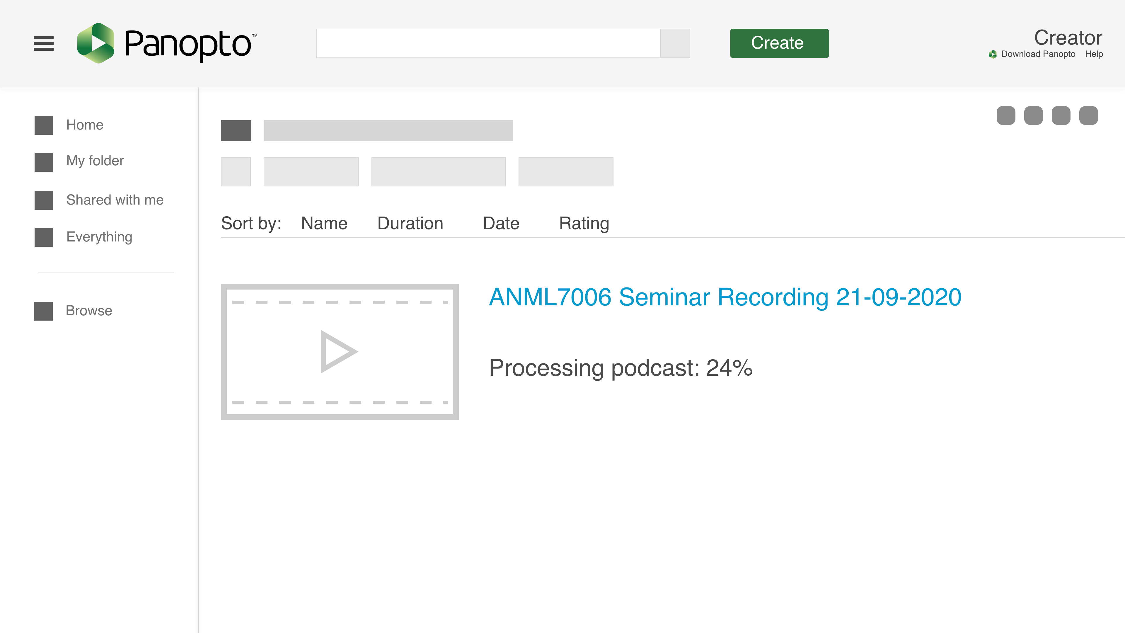 "Screenshot of the Panopto interface that shows the title of the recording in blue and the words ""Processing podcast: 24%"" below."