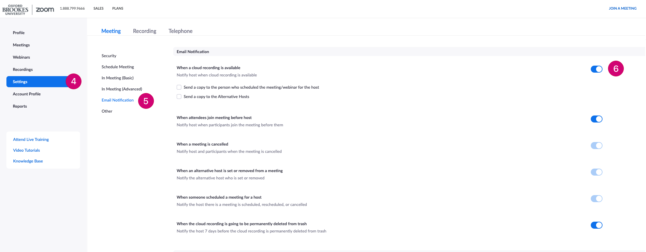 Screenshot of the Zoom admin interface that shows numbered steps to enable email notifications for cloud recordings.