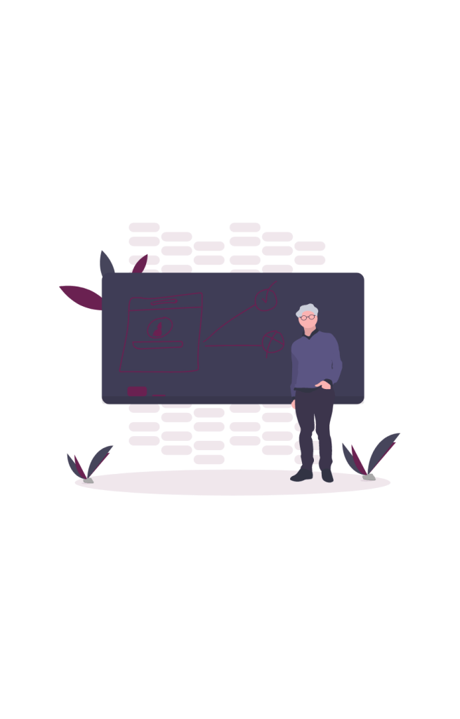 Graphic that shows a male figure standing in front of a black chalkboard.