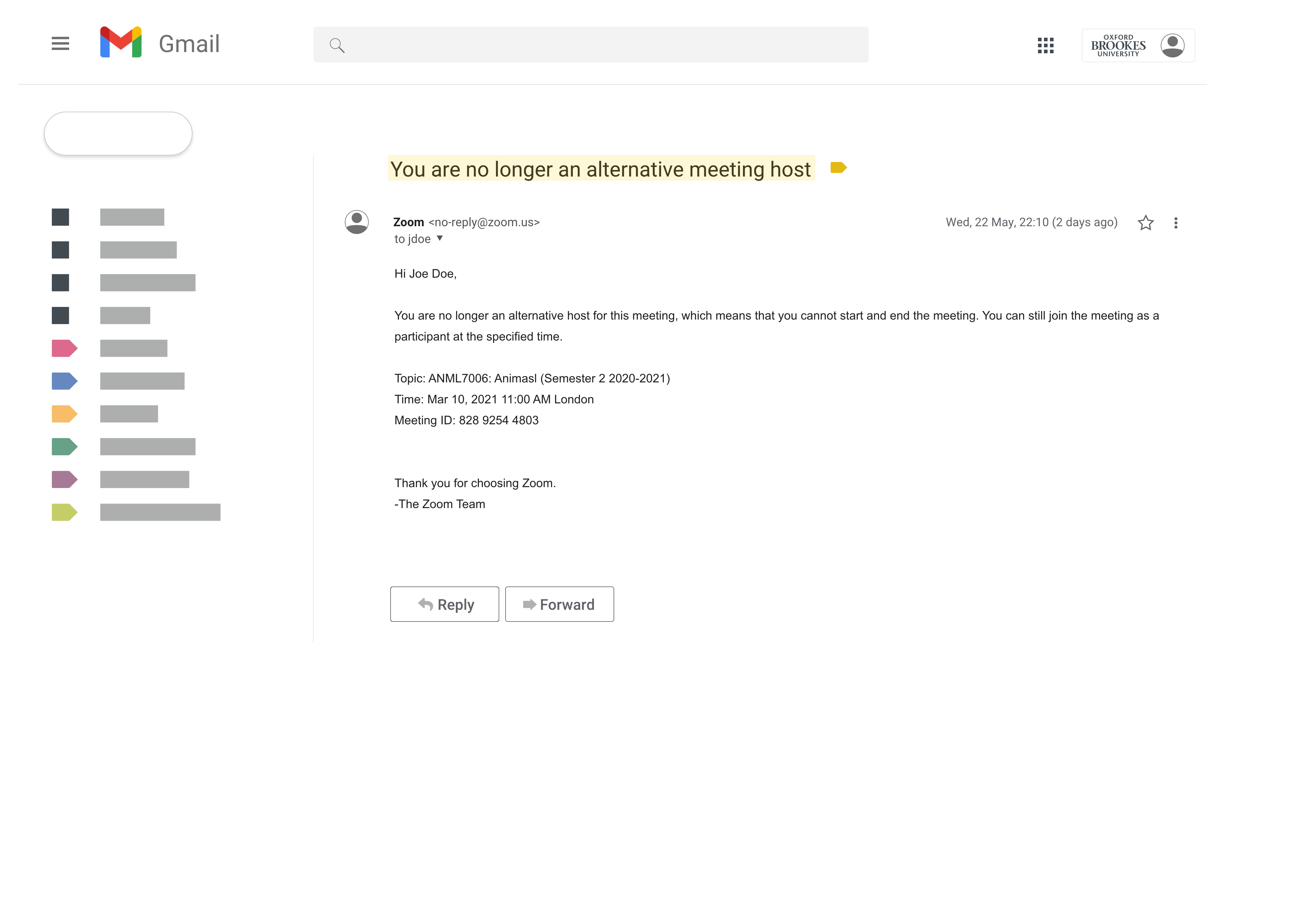 """Gmail screenshot that shows an example of an email with a subject line highlighted in yellow that reads """"You are no longer an alternative meeting host"""" and body text that reads """"You are no longer an alternative host for this meeting, which means that you cannot start and end the meeting. You can still join the meeting as a participant at the specified time""""."""